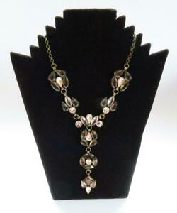 VINTAGE CAMEE CZECH HANDMADE BOHEMIAN STYLE FACETED GLASS & BRASS NECKLACE