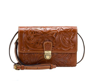 Patricia Nash Tooled Lanza Crossbody Florence NWT $159 Leather Brown P14107