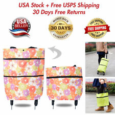 Foldable Shopping Bag On Wheels Portable Trolley Storage Bags Food Grocery Cart
