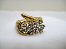 Vintage Clear Rhinestone Cornucopia Horn Cocktail Ring Gold Tone Metal 6.5 - 7