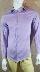 CELIO Taille S Superbe chemise manches longues homme mauve rauyres blanches