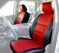 DODGE RAM 2009-2018 BLACK/RED S.LEATHER CUSTOM MADE FRONT SEAT COVER
