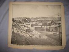 ANTIQUE 1878 ASBURY PARK NEW JERSEY LITHOGRAPH PRINT LUMBER YARD RAILROAD TRAIN