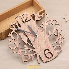 Wooden Tree Wall Clock 3D Diy Wall Watches Living Room Home Office Decor Gift