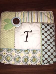 Pottery Barn PB Teen Pillow Cover Button Initial Letter T Blue Green Polka Dots