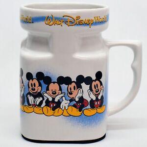 Walt Disney World Mickey Mouse Ceramic Travel Coffee Mug Square 16 Ounce wth Lid