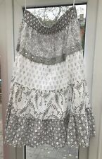 Bonprix BPC White / Grey / Silver Gypsy Skirt 26 Elasticated Sequins Beads NEW