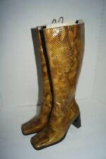 Women's Brown Faux Snake Heel Tall Zip Up Boots Size 7