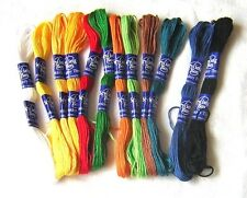 12 SKEINS EMBROIDERY THREAD MIXED 100% COTTON RED BLUE GREEN WHITE YELLOW BLACK