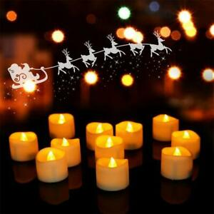 12Pcs LED Flickering Flame Battery Tea Lights Flameless Candle With Timer Decor