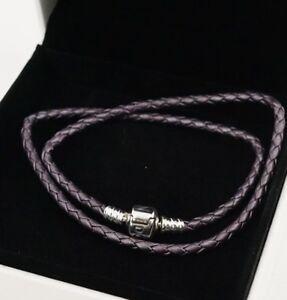 Authentic PANDORA Purple Braided Double Leather Braided Bracelet 590705CPE-D