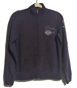 Harley-Davidson Women's Sz Medium Dark Full zip purple sweatshirt Waynesville NC