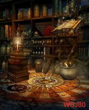 Vinyl  Halloween Wizard Room Bookshelf Photo Background Studio Backdrop 5X7FT LB