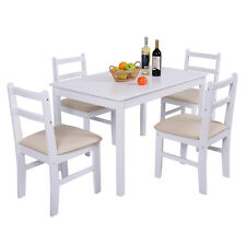 5 Pcs Pine Wood Dining Table Set 4 Upholstered Chair Breakfast Kitchen Furniture