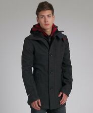 """Men's Superdry Premier Pea Charcoal Wool Trench Coat Size XXL 44"""" Chest"""