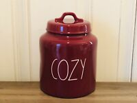 Rae Dunn Thanksgiving By Magenta Burgundy COZY Ceramic Chubby Medium Canister