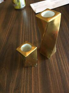 2 candlesticks Vintage candle holder gold TWISTED ceramic porcelain