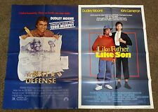 """""""Best Defense"""" & """"Like Father Like Son"""" 1980's original folded movie posters ex"""