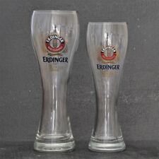 2 Erdinger German Lager Pint & Half Pint Beer Glasses Set - NEW