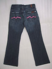 Womens 7 For All Mankind 7FAM Dark Wash Jeans Pink Swirl Flare Size 24 26x29 USA