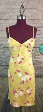 MUSE Bias Cut Dress With Appliqué And Beading Details Yellow Pink White Sz 4