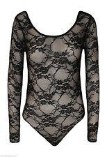 Womens Long Sleeve Lace Floral Bodysuit Stretch Ladies Leotard Body Top UK 8-26 Black 20-22