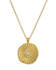 NEW Authentic GORJANA Sunburst Coin Pendant Gold Plated Chain Necklace