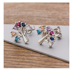 Tree Of Life Stud Earrings Rainbow Gemstones Silver Plated Ladies Girls Gift