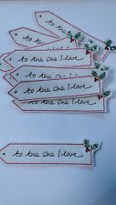 Set of 10 Handmade Christmas Card Embroidered To The One I Love Motifs #8F42