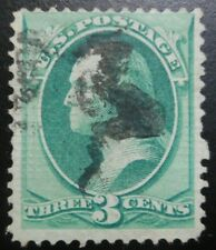 U.S.Stamp:Scott#136A, 3c, Green, National Banknote Co Split grill, Issue 1870-71