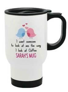 Personalised Any Name Love Birds Thermal Travel Mug Flask Coffee Tea Mug 64