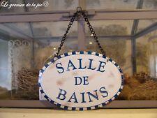 plaque de porte en métal salle de bains style émail damier bleu rétro vintage