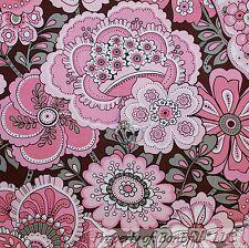 BonEful Fabric FQ Cotton Quilt Brown Gray Pink White Girl Flower Hippie Dot Leaf