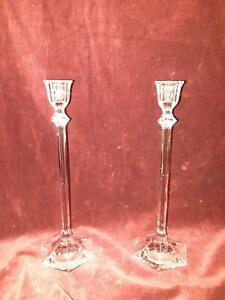 Vintage Cut Class Crystal Petite Candle Sticks Set of 2 Marked
