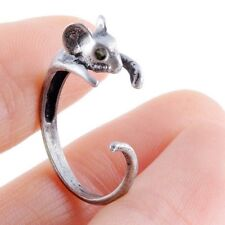 Popular Bronze Mouse Ring Girl's Retro Burnished Rat Mice Animal Ring Jewelry