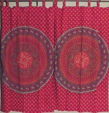 Maroon and Orange Block Print Mandala Elephant Patterned Indian Window Curtains