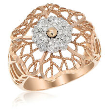 18K Rose Gold Pave Diamond Flower Rose Floral Right Hand Cocktail Fashion Ring