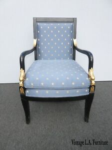 Vintage French Country Ethan Allen Blue Accent Chair As-Is