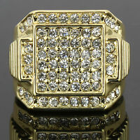 Mens 14k Gold Plated Hip Hop Style 6 Square Ring CZ Crystal Bling Pinky