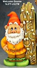 """CERAMIC BISQUE LARGE """"WELCOME"""" GNOME- READY TO PAINT"""