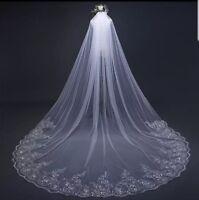 UK 4 Metres White Ivory 1 Layer Long Sequins Lace Edge Bridal Wedding Veil