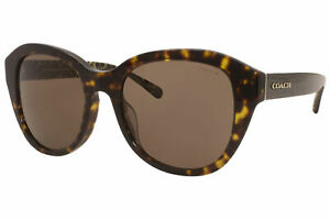 Coach HC8231F 55073 Sunglasses Women's Dark Tortoise/Brown Lenses Square 54mm