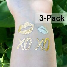 XO XO Gold Temporary Tattoos Lips Kiss Flash Tattoo 3 Pack