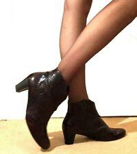 Gabor Ladies Ankle Boots 6 39 Mid Heel Dark Brown Real Leather Western Cowboy