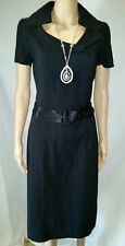 CUE 10 12  Dress Black Slim Stretch Belt Zip Short Sleeves Corporate Office