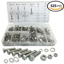 525pcs Stainless Steel Hex Head Cap Bolts Nuts Screw with Lock and Flat Washers