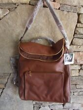 DV NWT FAUX LEATHER FLAT TOP BACK PACK BAG BROWN LINE GOLD HARDWARE 13X12X4