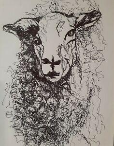 Original Pen Ink Lamb Sheep Animal Scribble Drawing Tamyra Crossley Art sketch