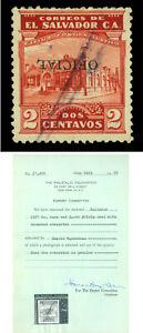 EL SALVADOR 1927 OFFICIALS  Gymnasium 2c red Sc# O353 used INVERTED ovpt. w/Cert