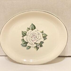 "Homer Laughlin Debutante Silver Rose 13 1/2"" Vintage Platter Preowned"